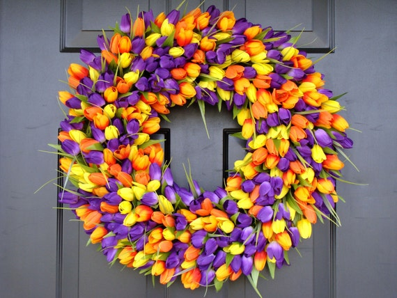 Outdoor Decor- Spring Wreath- Tulip Wreath- Wall Decor - Etsy Wreath- Home Decor