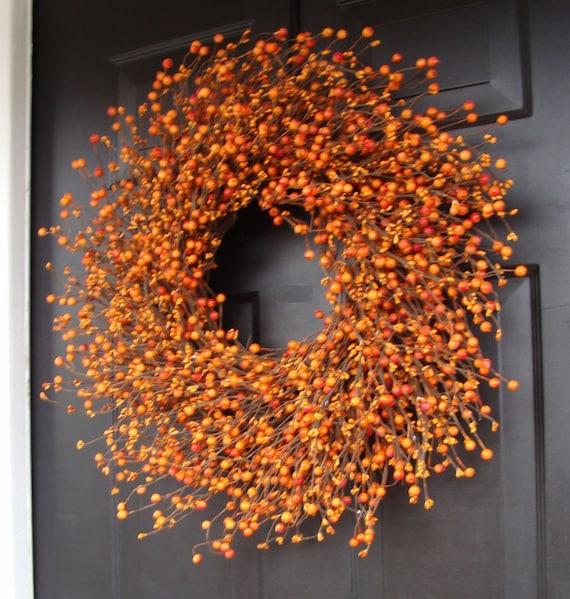 Pumpkin Pie Fall Wreath, Thanksgiving Wreath Berry Wreath, Thanksgiving Decor XL 18 - 24 INCH Sizes Available