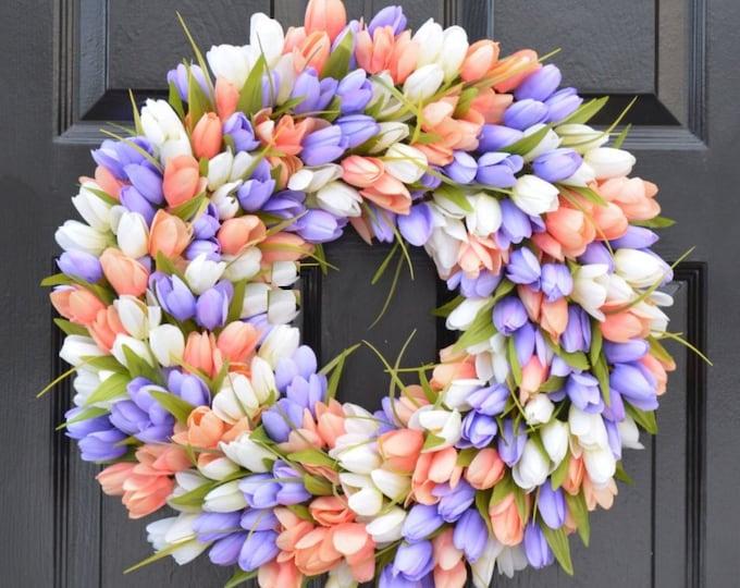 Spring Wreath- Tulip Spring Wreath- Summer Wreath- Custom Summer Door Wreath