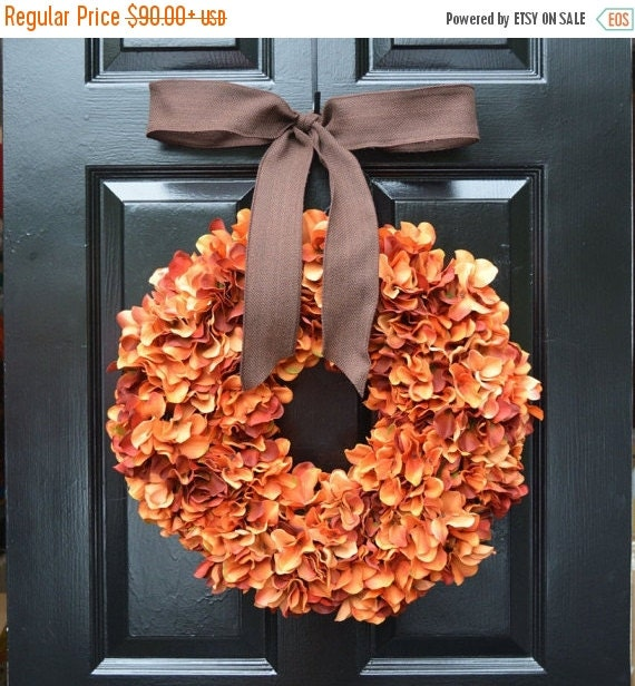 Orange Hydrangea Pumpkin Wreath Hydrangea Fall Wreath, Fall Decor, Orange Pumpkin Spice Fall Wreath