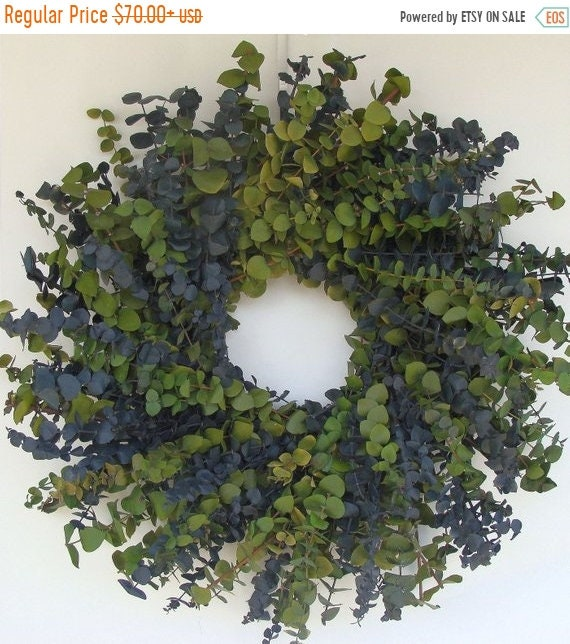 SUMMER WREATH SALE Sage and Blue Eucalyptus Wreath- Other Colors Also Available 16, 20 or 24 Inch Diameter
