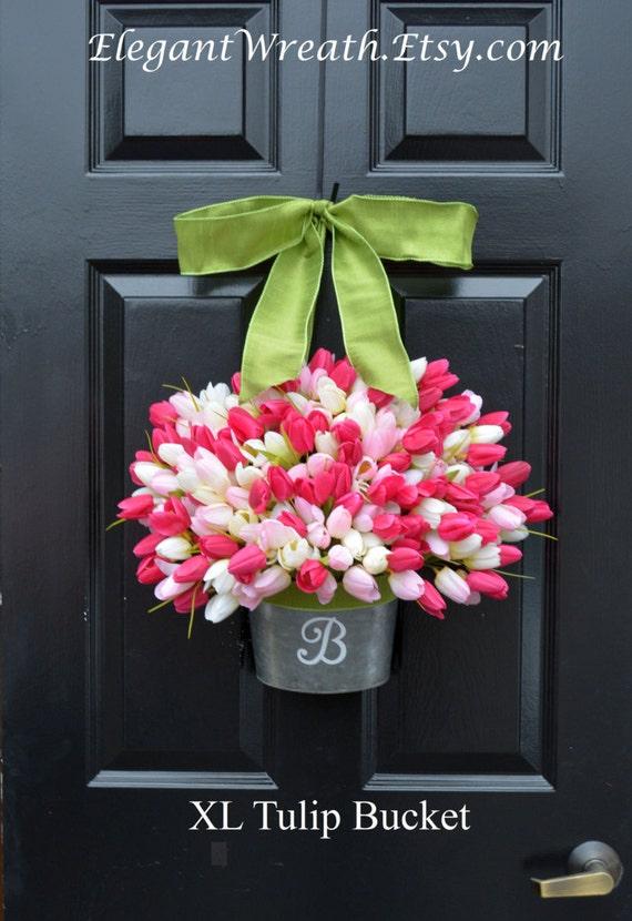 Monogram Spring Tulip Wreath- XL Tulip Door Bucket Wreath Alternative- Tulip Wreath- Gift for Mom- Wreath for Spring- Custom Size