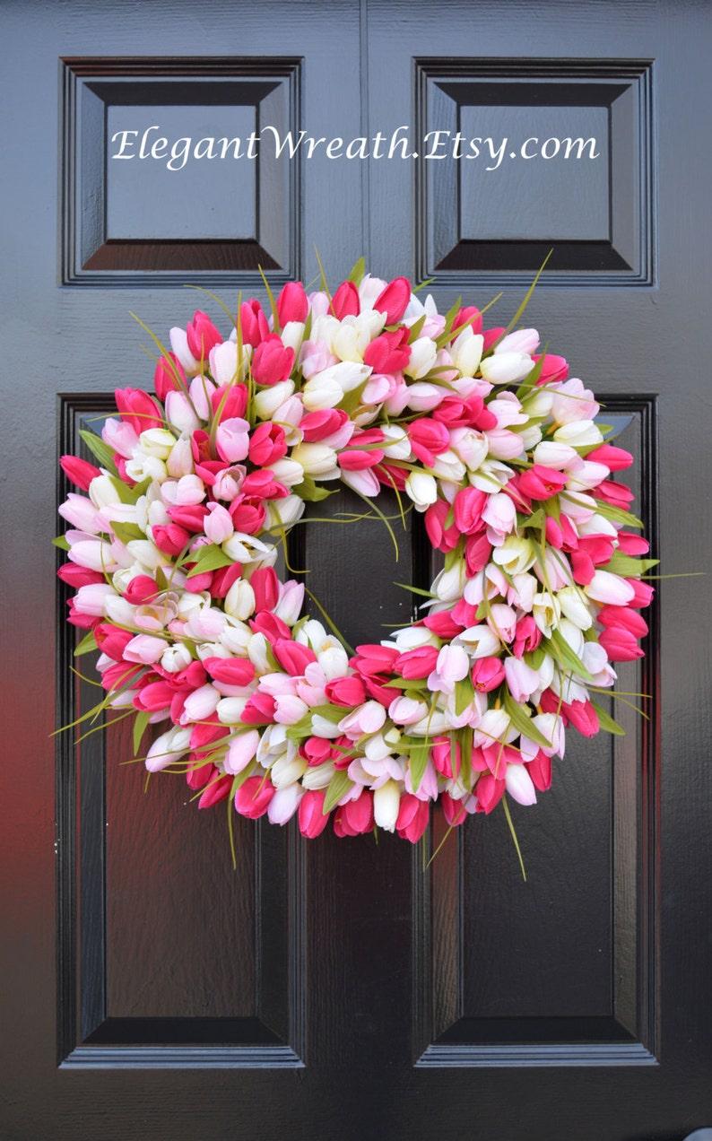 Spring Decoration  The ORIGINAL Tulip Wreath Custom Spring Wreath Custom Colors Mother/'s Day Wreath Spring Decor Wall Decor