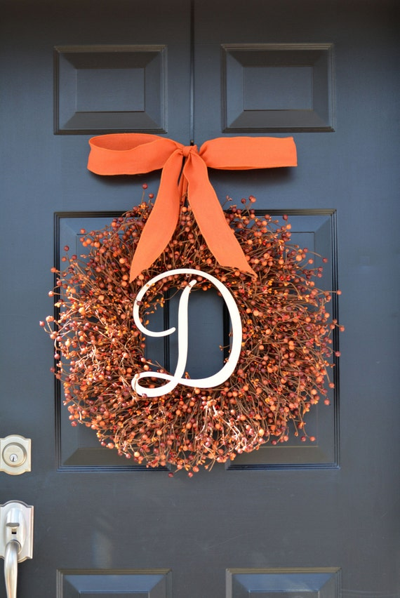 Fall Berry Wreath- Thanksgiving Decor- Berry Fall Wreath with Burlap Ribbon- Hostess Gift - Pumpkin, XXL 18-22 inch