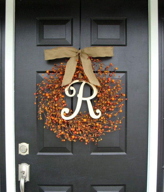 Berry Monogram Fall Wreath- Monogram Berry Wreath- Fall Wreath with Burlap Ribbon- Door Wreath  XL 22 inch