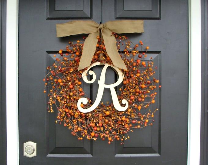 Fall Wreath- Monogram Berry Wreath- Custom Initial Fall Decor- Autumn Decoration- Door Wreath- Monogram Wreath