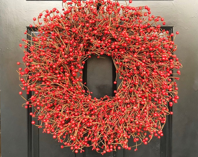 Christmas Wreath- Front Door Red Berry Door Wreath- Winter Berry Wreath- Valentine's Day Wreath Fall Wreath  Year Round Wreath XL