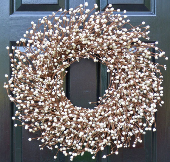 Cream Berry Wreath- Berry Door Wreath- Year Round Wreath- White Wedding Wreath- Christmas Wreath Winter Wreath Fall Wreath- 15 COLOR OPTIONS