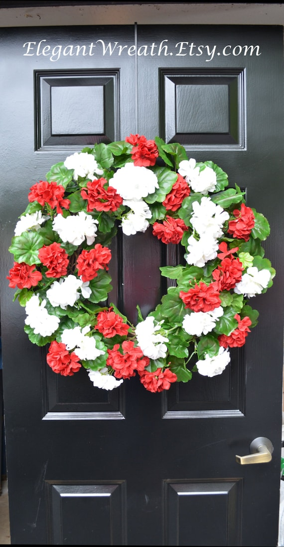 Geranium Summer Wreath, Geranium Wreath,  Outdoor Summer Wreaths, Front Door Wreath,  Etsy Spring Wreath, Red White or Pink Geranium Wreath