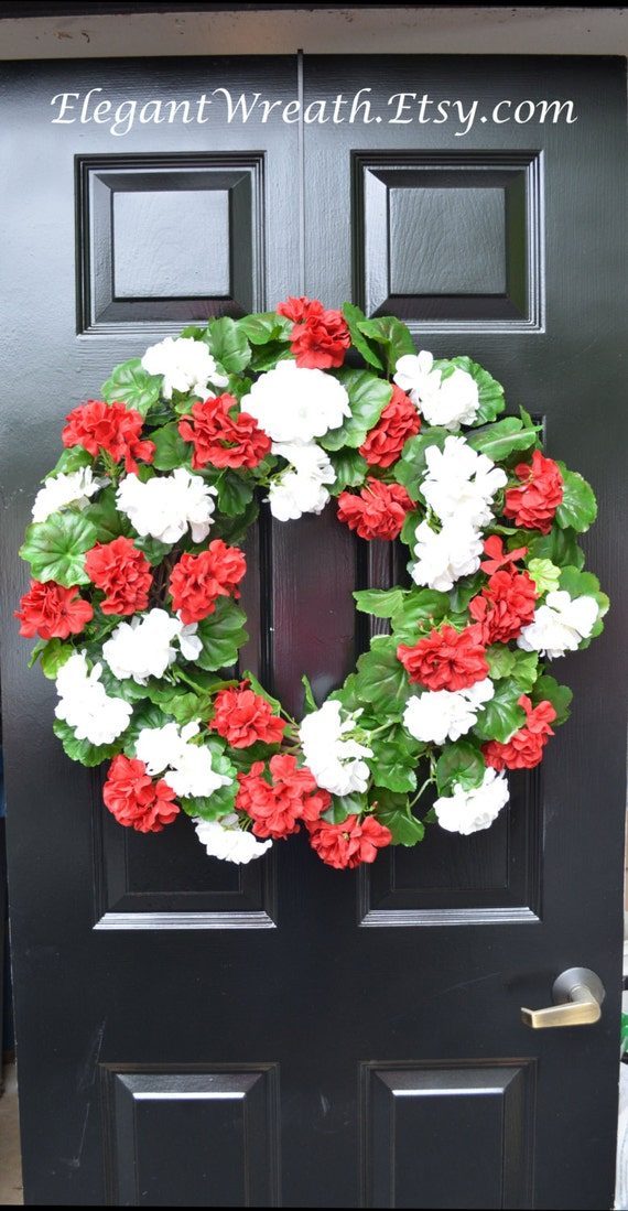 Summer Wreaths- Geranium Wreath- Outdoor Summer Wreaths- Door Wreath- Etsy Wreath