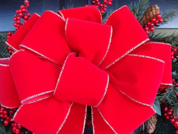 Handmade Wired Red Velvet Outdoor Christmas Bow with extra long 30 inch tails