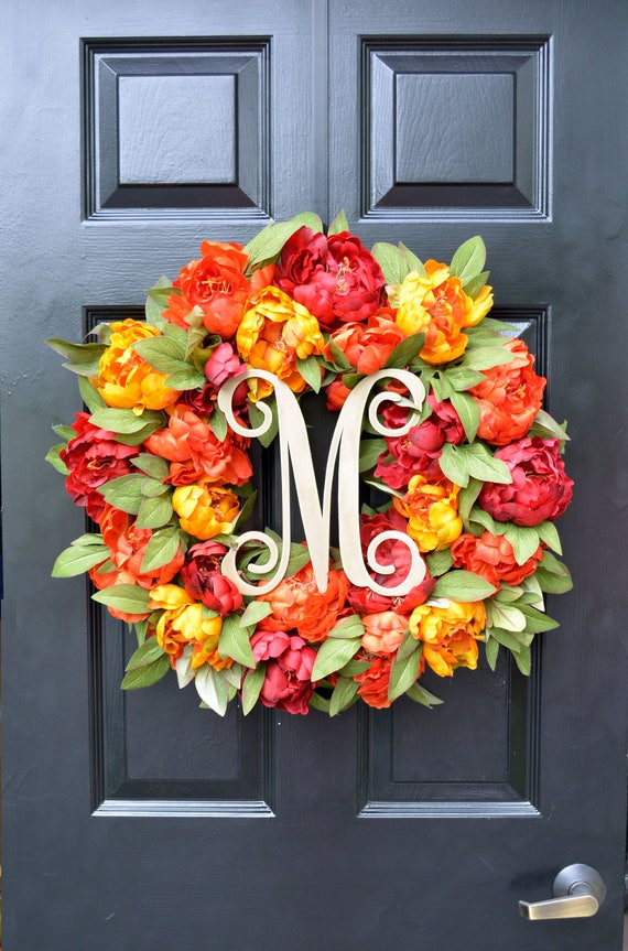 Monogram Peony Fall Wreath, Fall Colors Monogram Wreath for Front Door, Autumn Fall Decor, Fall Colors, Designer Wreath, Fall Wedding Wreath