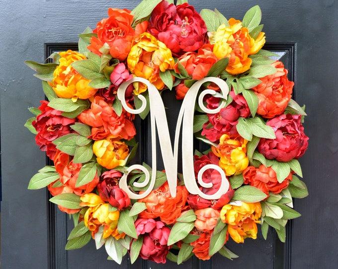 Monogram Peony Fall Wreath, Fall Colors Monogram Wreath for Front Door, Autumn Fall Decor, Fall Colors, Designer Wreath, Fall Wedding Wreath
