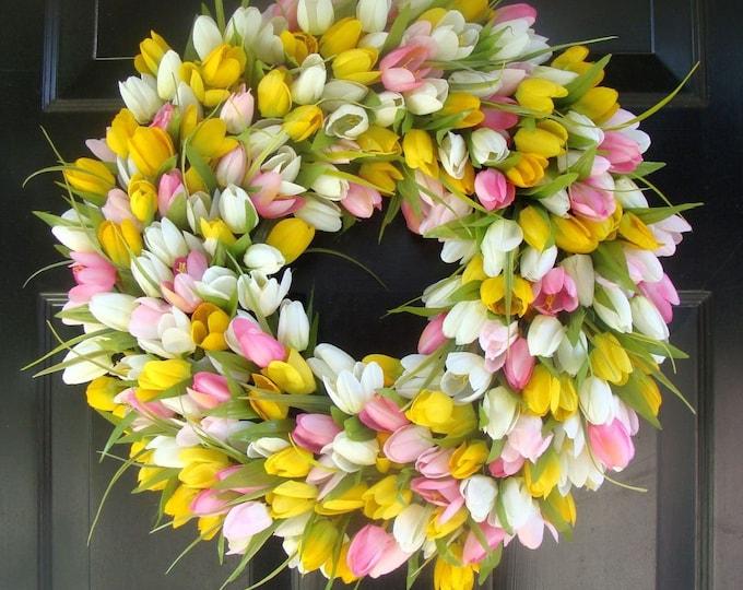 Bestselling Original Custom Tulip Wreath- Spring Wreath- Easter Wreath- Easter Decor- Front Door Wreath- Easter Decoration- Wedding Wreath