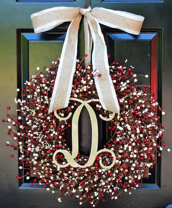 Fall Berry Wreath- Door Wreath- Fall Wreath- Wedding Wreath- Valentine's Day Wreath- Christmas Wreath- Red and Cream Fall Decor Winter Decor