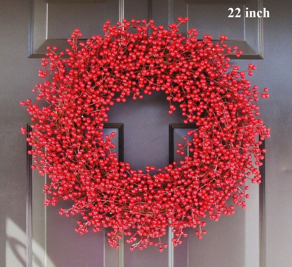 Winter Wreath, Christmas Wreath, Red Berry Wreath, Christmas Wreath-  Featured in Better Homes and Gardens Magazine