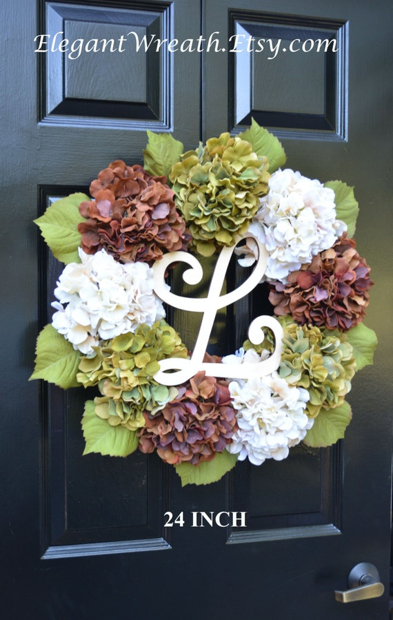 Fall Hydrangea Wreath, Hydrangea Fall Wreath, Monogram Fall Wreath, Fall Decor, Fall Decoration, Monogram Wreaths,  Fall Wedding Wreath