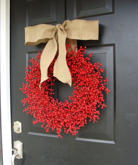 Red Berry Holiday Wreath- Christmas Wreaths Berry Wreath Christmas, Valentine's Day Wreath- Featured in Better Homes and Gardens Magazine