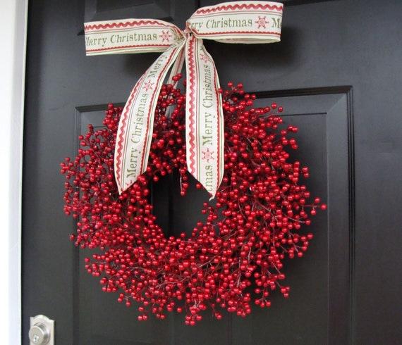 Red Berry Wreath, Christmas Decor, Christmas Wreath, Berry Wreaths, Cranberry Wedding Decor, Winter Wreath