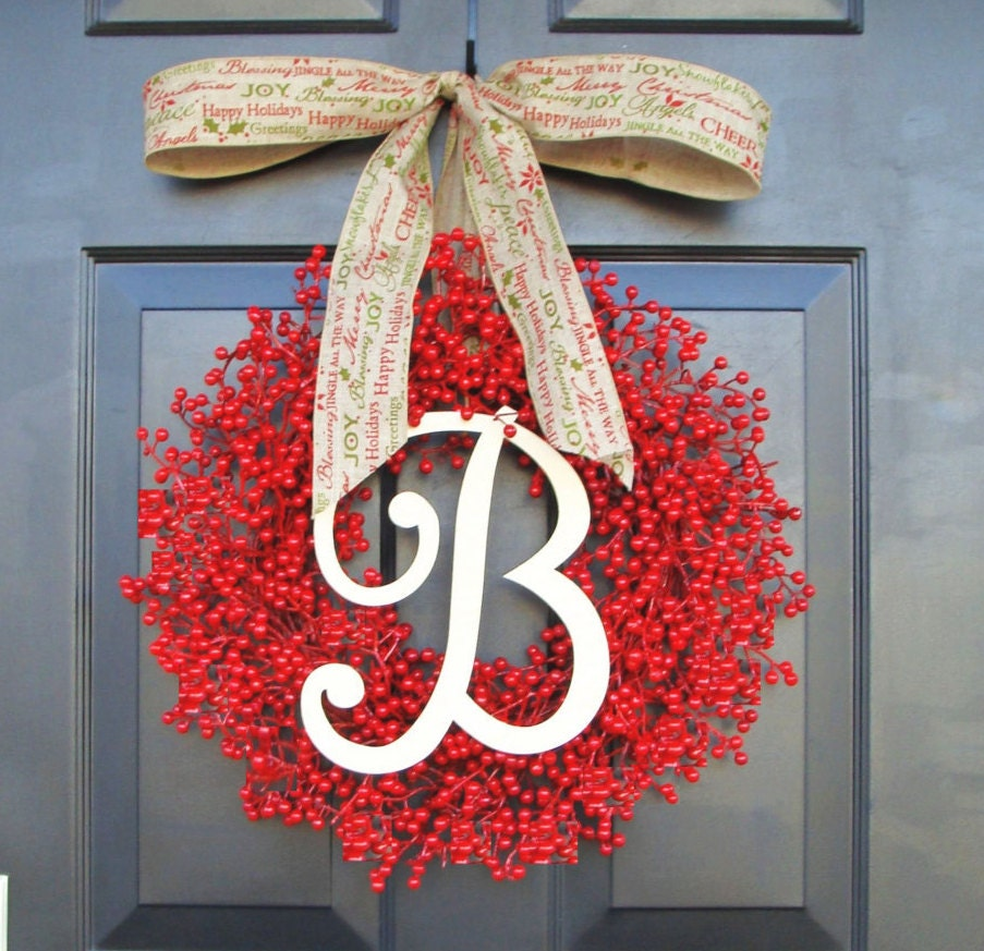 Monogram Red Berry Christmas Wreath Monogram Wreaths Holiday Wreath Personalized Gift Weatherproof Berries Designer Bow 16 24