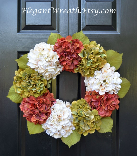 Hydrangea Fall Wreaths, Autumn Hydrangea Wreath, Fall Hydrangeas, Fall Wreath Decor, Fall Weddings, Fall Decoration