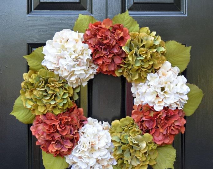 Hydrangea Fall Wreaths, Autumn Wreath, Fall Hydrangeas Fall Wreath Decor, Fall Weddings, Fall Decoration, 24 inch