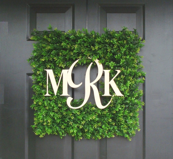 Couples Wedding Gift, Custom Wedding Monogram Wreath, Church Door Decor, Reception Decor, Boxwood Wreath, Wedding Decoration Bride and Groom