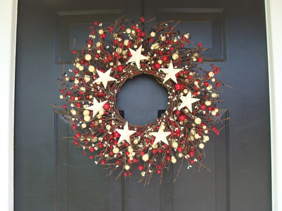 Berry Wreath, 4th of july decor wreath, Memorial Day Wreath,  18 Inch Shown, Door Wreath
