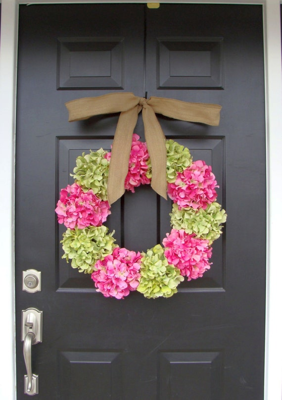 Spring Hydrangea Wreath- Door Wreath- Wedding Wreath- Wedding Decor- Custom Colors