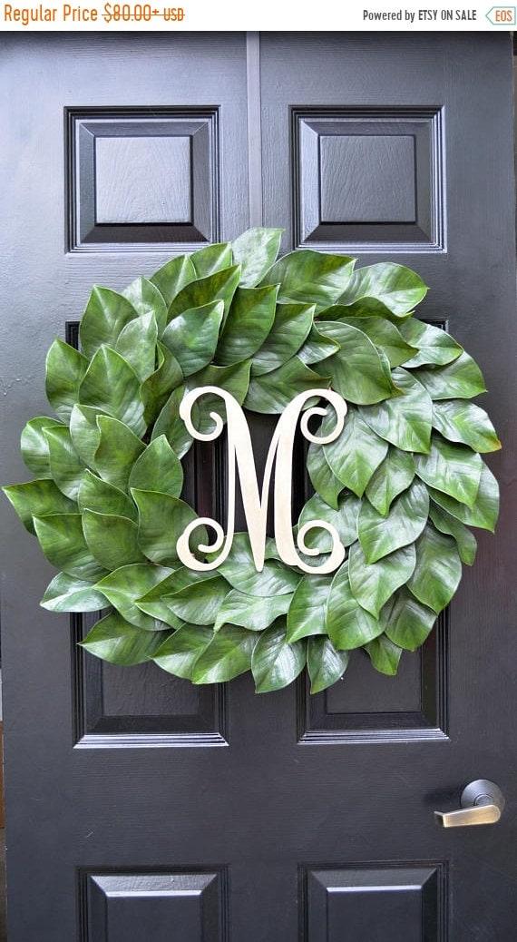 SUMMER WREATH SALE Weatherproof Monogramed Magnolia Wreath, Magnolia Leaves Door Wreath, Fixer Upper Southern Decor Year Round Wreath Southe