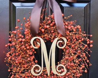 Thanksgiving Wreath Pumpkin Berry Fall Wreath for Front Door- Thanksgiving Wreaths- Pumpkins- Autumn Decoration- Orange Berries- Fall Decor