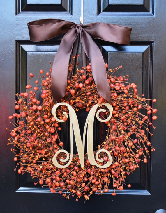 Thanksgiving Wreath- Fall Wreath- Thanksgiving Wreaths- Pumpkin Berries- Indoor Wreath- Autumn Decoration- Orange Berries- Fall Decor