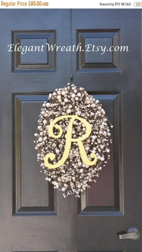 SUMMER WREATH SALE Monogram Egg Easter Wreaths- Easter Decoration- Egg Easter Wreaths- Monogram Wreath- Spring Wreath