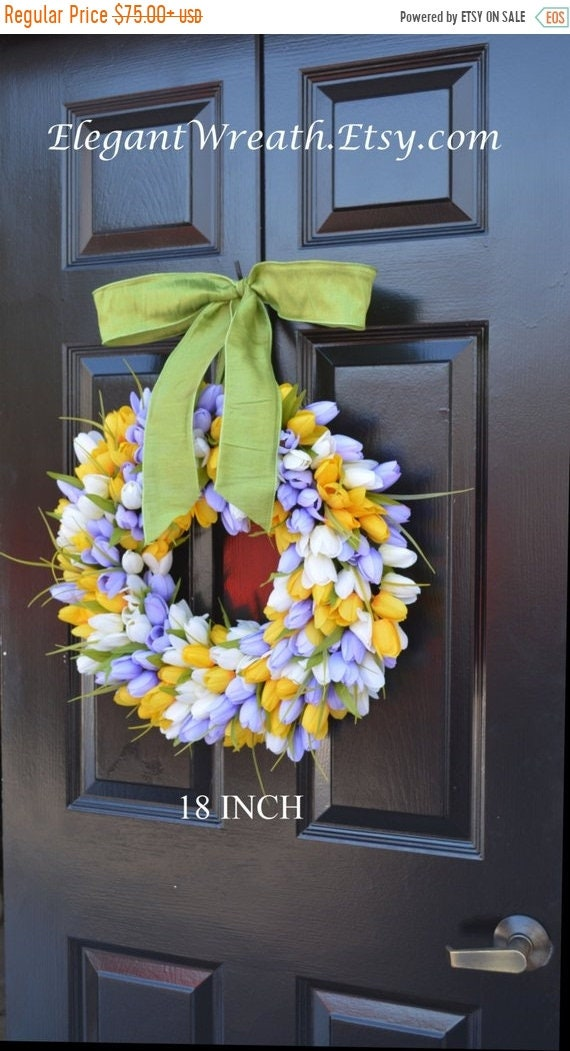 SUMMER WREATH SALE Spring Wreath, Tulip Wreath, Spring Decoration, Door Wreath for Spring Custom Size