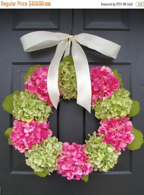 SUMMER WREATH SALE Outdoor Hydrangea Summer Wreath- Custom Hydrangea Wreath- Spring Wreath for Door- Custom Colors