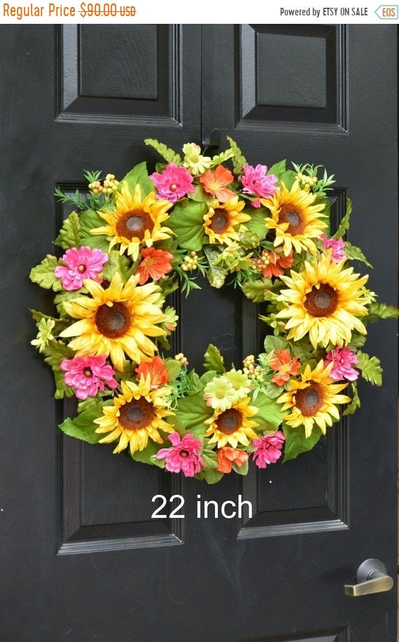SUMMER WREATH SALE Sunflower Summer Wreath- Outdoor Xl Yellow Floral Door Wreath Decor- Patio Outdoor Wreath