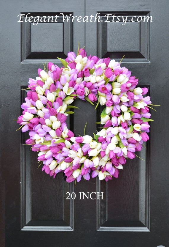 Silk THIN Spring Tulip Wreath, Storm Door Wreaths, Front Door Outdoor Wreath,  Front Door Spring Decor, Sizes 14-22 inch available