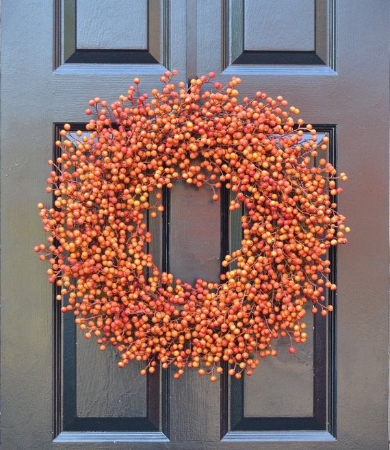 BESTSELLING Orange Weatherproof Fall Berry Halloween Wreath, Fall, Halloween Decor, Halloween Decoration, WEATHERPROOF Berries 24 inch Shown
