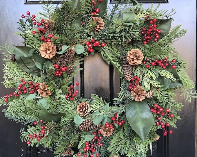 Christmas Wreath Front Door Outdoor Artificial Waterproof Berry Eucalyptus Magnolia Pine Wreath 24 inch shown