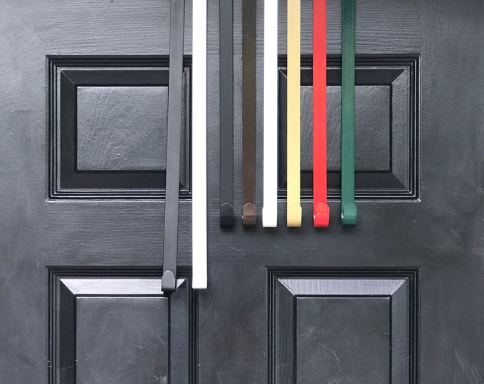 "15"" & 18"" Long Standard Door Size Wreath Hanger,Metal Thin Floral Door Hanger Over The Door Hanger- Wreath Hooks-  6 Colors, Made in the USA"