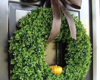 Fall Boxwood Wreath, Pumpkin Fall Wreath, Outdoor Door Hanging, Fall Wreaths, Fall Decor, Boxwood with Burlap Bow 24 inch wreath shown