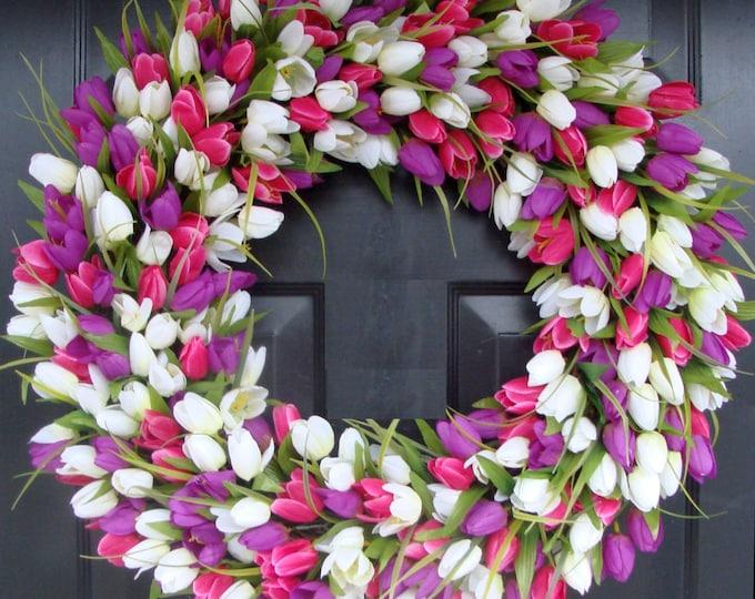 Spring Wreath- Door Wreath- Spring Decor- Tulip Wreath-Outdoor Spring Wreath- Easter Decoration Front Door Wreath- Wedding Wreath
