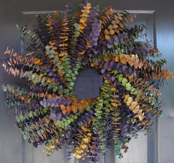 Year Round Eucalyptus Wreath- Purple, Amber and Sage- Dried Floral Wreath- Eucalyptus Fragrance- Natural Eucalyptus Oil