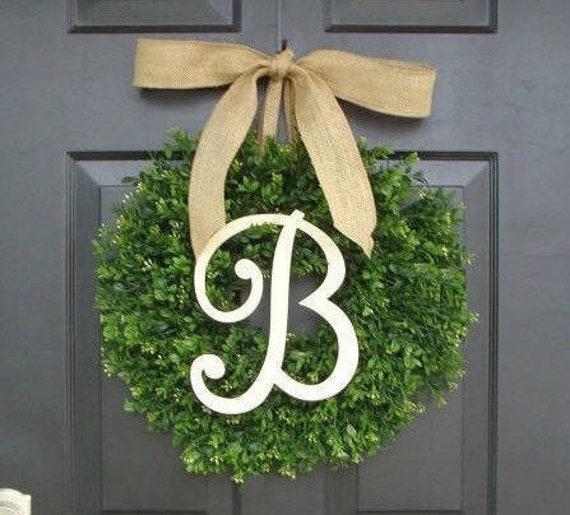 Faux Boxwood Wreath, Monogram Wreath, Outdoor Door Wreath, Fall Wreaths, Year Round Wreath, Spring Wreath
