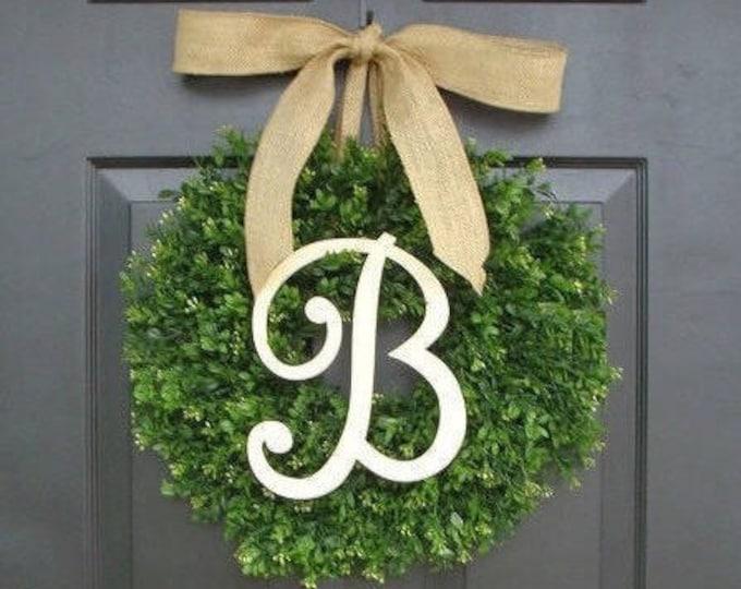 Top Seller Faux Boxwood Wreath, Monogram Wreath, Outdoor Door Wreath, Fall Wreaths, Year Round Wreath, Spring Wreath