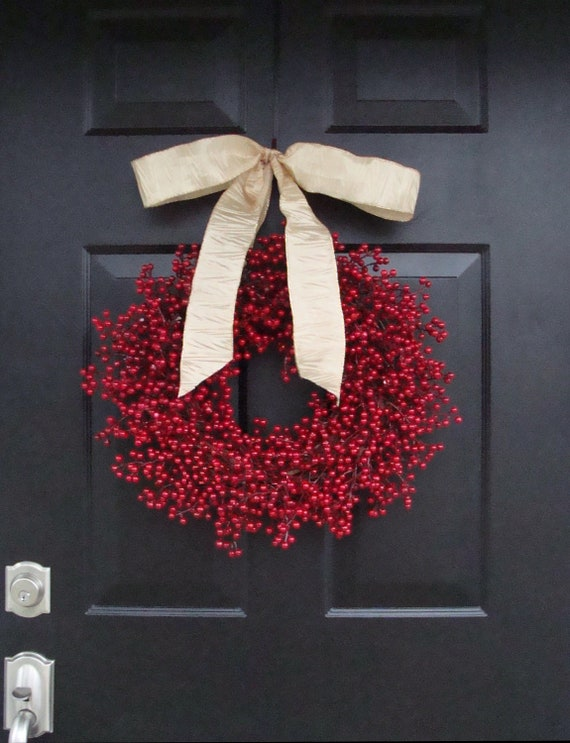 Rustic Red Berry Wreath, Winter Wreath, Burlap Bow, Christmas Wreaths, Wedding Wreath, Rustic Wedding Decor, Burlap Bow