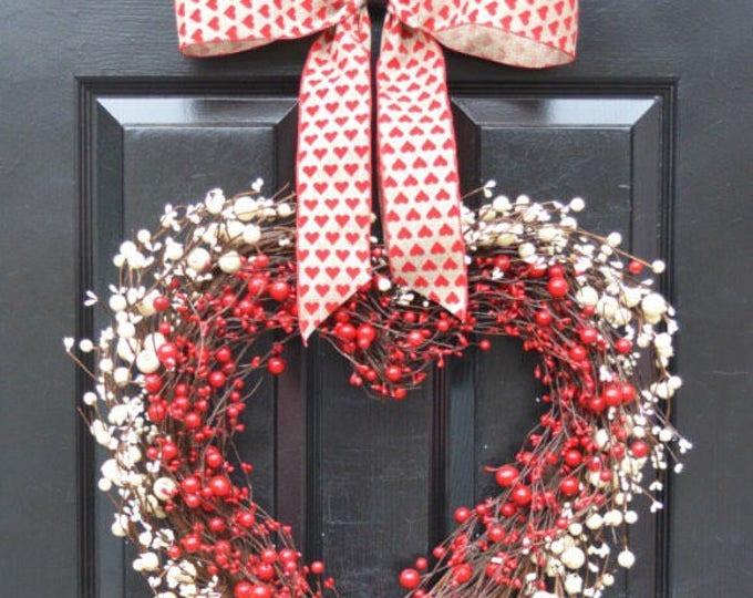 Berry Heart Wreath- Valentine's Day Wreath- Heart Wreath Love Decor- Valentines Day Gift- I love you Decor- Valentines Day- Wedding Day