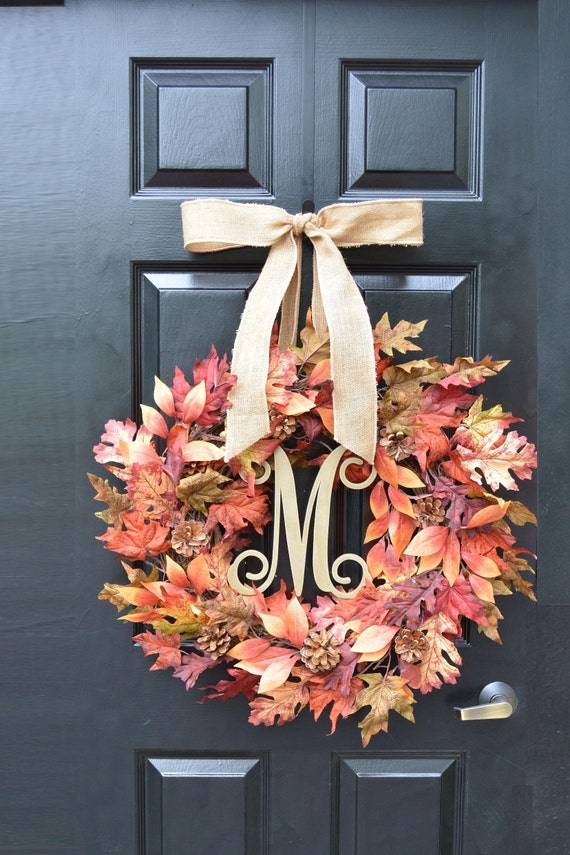 Fall Burgundy Leaf Wreath, Fall Wreath, Fall Monogram Wreath with Pinecones, Autumn Fall Decor, Fall Colors, Gold Monogram