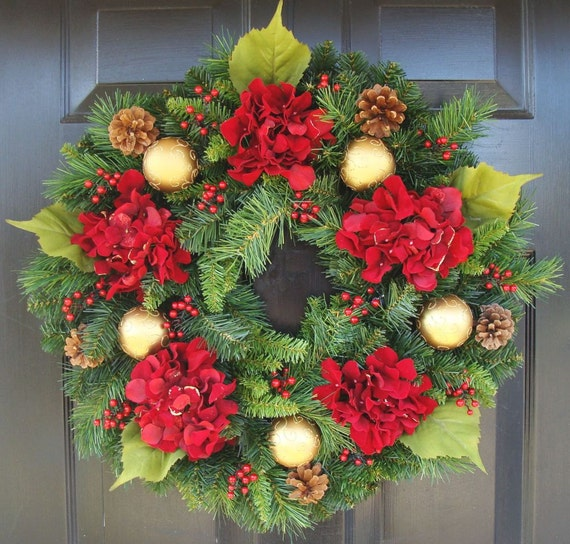 Holiday Wreath- Shatterproof Ornament, Pinecone and Hydrangea Artificial Christmas Wreath- Winter Wreath- Door Wreath FREE SHIPPING