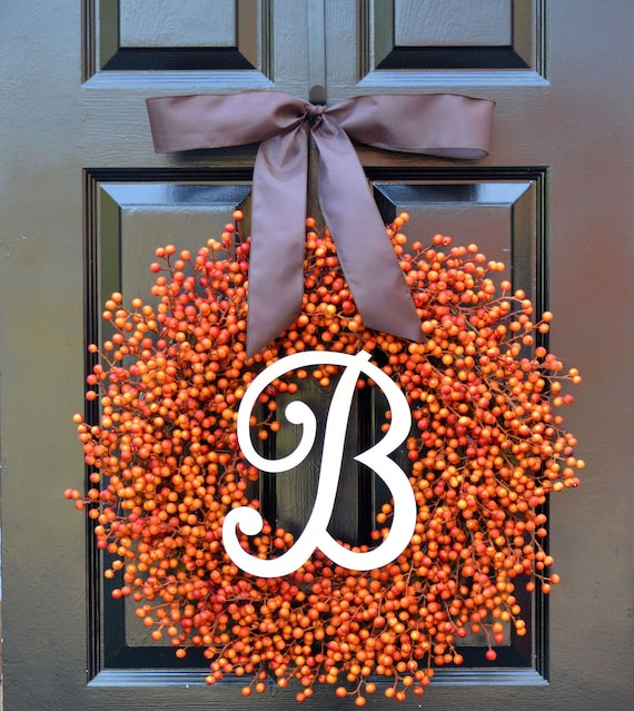 Orange Berry Fall Wreath, Fall Monogram Wreath Thanksgiving Wreath, Fall Decor with Weatherproof Berries